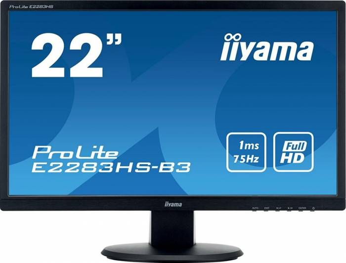imagine 0 Monitor LED 22 Iiyama ProLite E2283HS-B3 Full HD 1ms e2283hs-b3