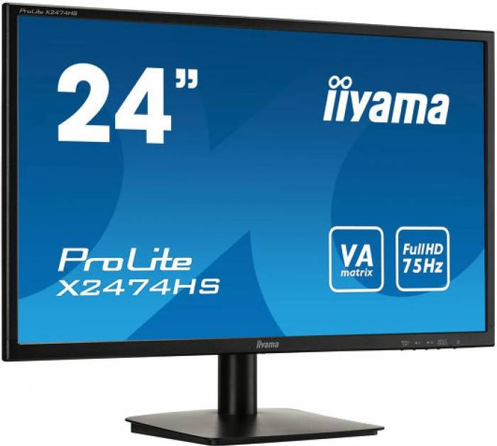 imagine 0 Monitor LED 24 Iiyama X2474HS-B1 Boxe FullHD 75Hz 4ms x2474hs-b1