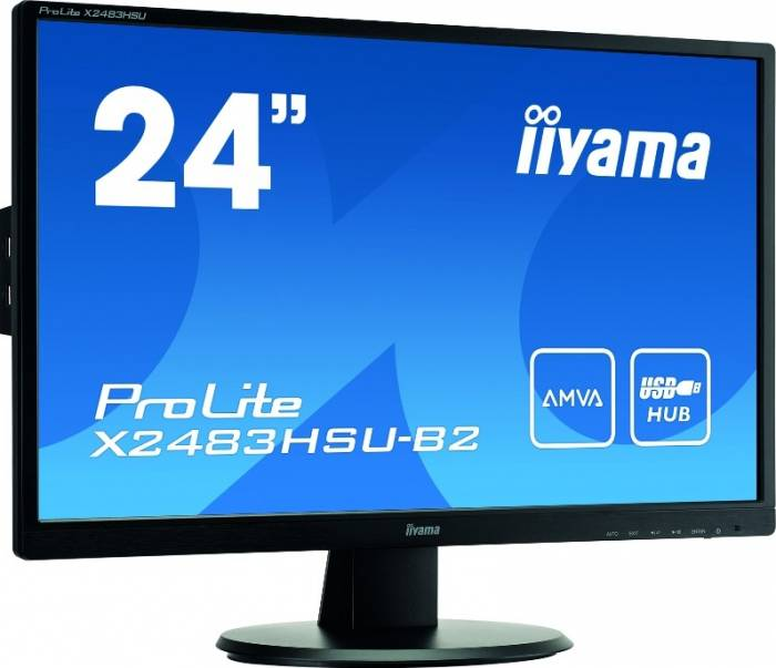 imagine 2 Monitor LED 24 Iiyama X2483HSU-B2 Full HD 4 ms x2483hsu-b2