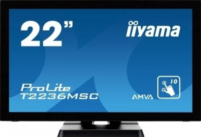 imagine 0 Monitor LED 21.5 Touchscreen Iiyama Prolite T2236MSC-B2 Full HD Negru t2236msc-b2