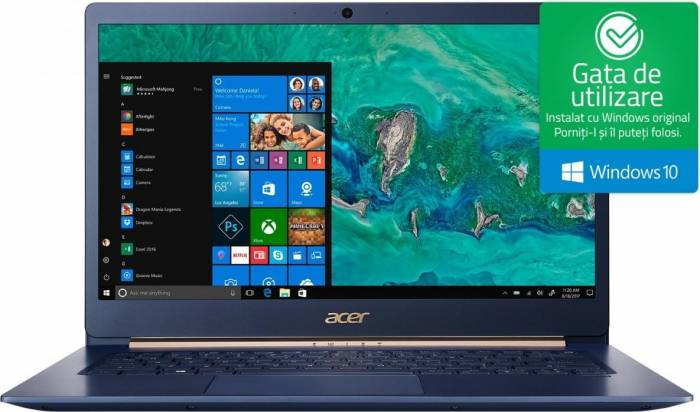 imagine 0 Ultrabook Acer Swift 5 Intel Core Kaby Lake R (8th Gen) i5-8250U 256GB SSD 8GB Win10 FullHD Tast. ilum. FPR nx.gtmex.003