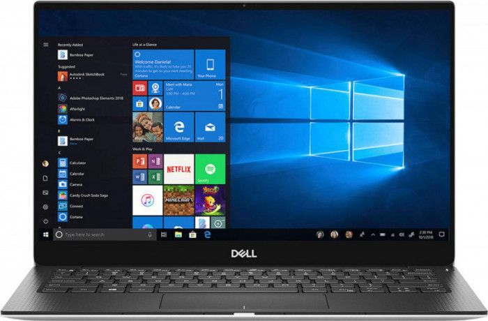 imagine 0 Ultrabook Dell XPS 13 Intel Core (8th Gen) i7-8565U 512GB SSD 16GB Win10 Pro UHD 4K Adaptor USB-C FPR Tast. il. Silver 1000032142
