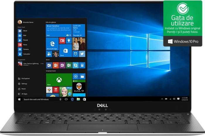 imagine 0 Ultrabook Dell XPS 9370 Intel Core Kaby Lake R (8th Gen) i7-8550U 512GB SSD 16GB Win10 Pro 4K UHD Touchscreen Tast ilum. dxps9370i716512wpg