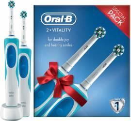 Periute electrice si dus bucal Set 2 Periute electrice Oral B Vitality Cross Action Albastru